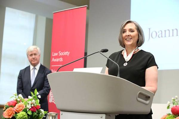 Joanna Radbord receives the Law Society Medal at a special ceremony on May 24, 2017
